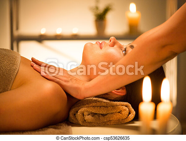 corps, salon, femme, spa., beauté, délassant, brunette, spa, apprécier, masage - csp53626635
