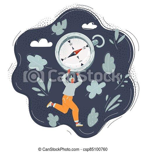 corra, fondo., directon, compass., caricatura, concepto, mujer, ilustración, oscuridad, derecho - csp85100760