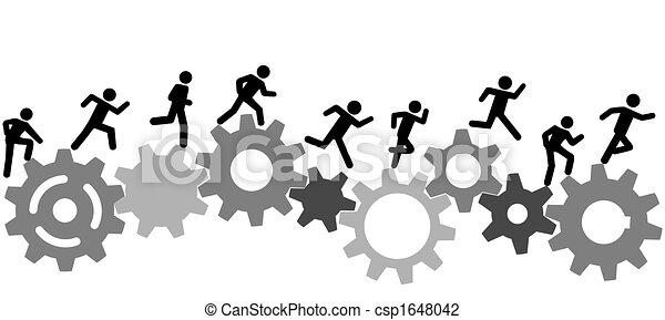 La gente del simbolo corre una carrera sobre engranajes industriales - csp1648042
