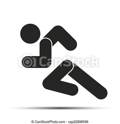 Correr gente simple símbolo de correr aislada en un fondo blanco. - csp22898596