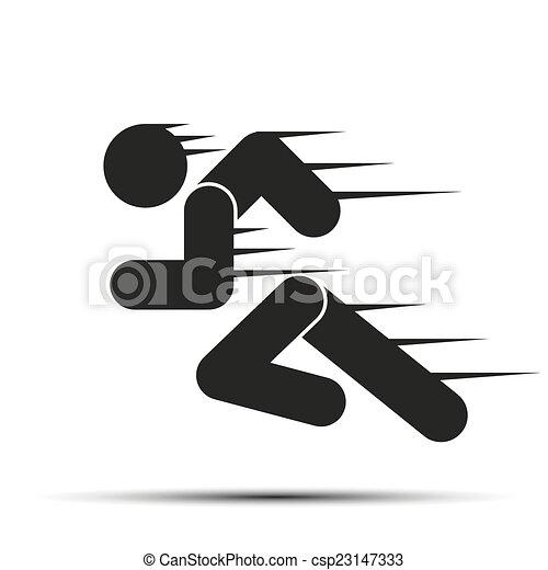 Poniendo en movimiento a la gente. Simple símbolo de la carrera aislada en un fondo blanco. - csp23147333