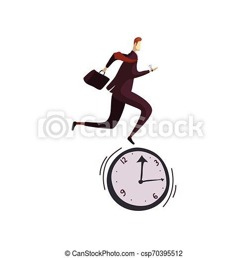 El hombre de traje funciona con el reloj. Ilustración de vectores sobre fondo blanco. - csp70395512