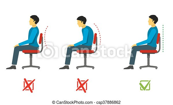 Correct and bad sitting position. Vector medical infographics - csp37886862