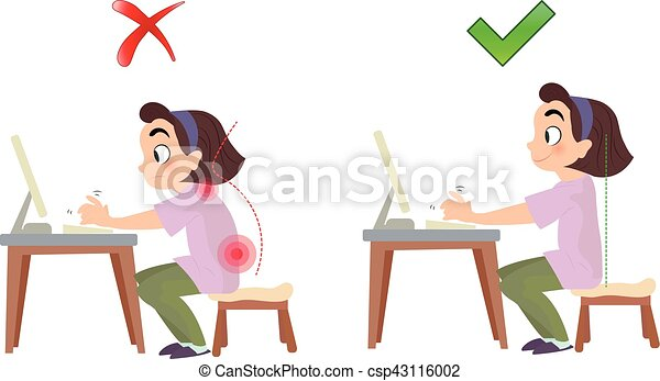 Correct and bad spine sitting posture - csp43116002