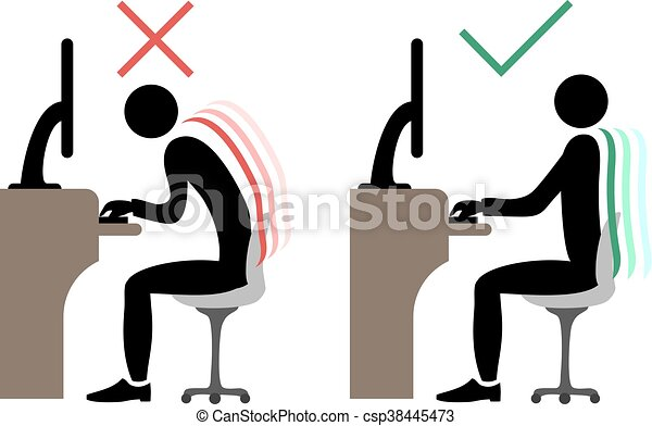 correct office back sitting - csp38445473