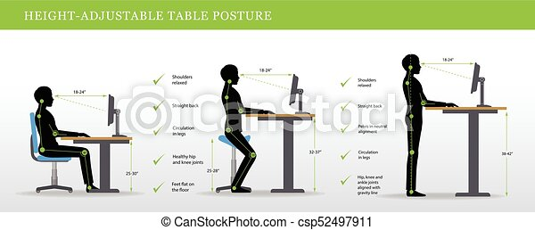 Correct postures for Height Adjustable and Standing Desks - csp52497911