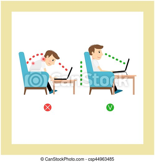 Correct sitting, laptop use position - csp44963485