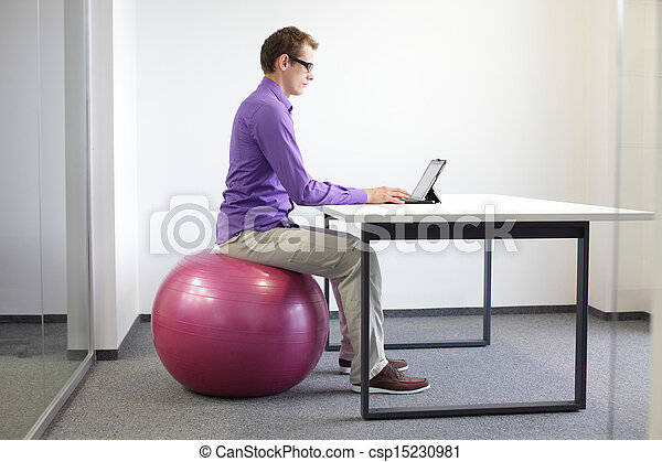 correct sitting position in office - csp15230981
