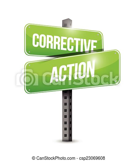 corrective action street sign illustration - csp23069608