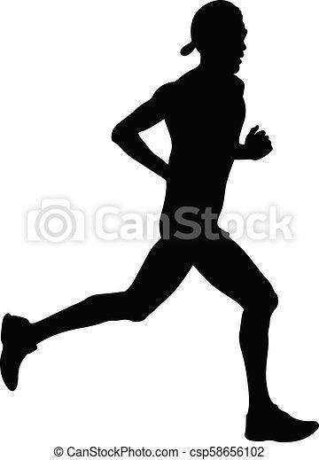 corredor, atleta, boné - csp58656102