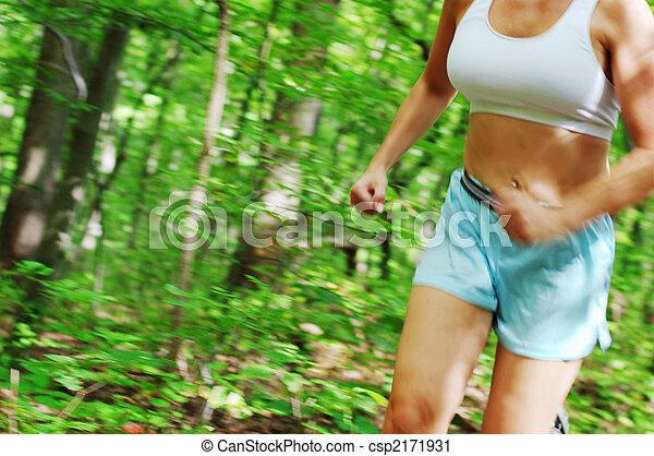 corredor, mujer, maduro - csp2171931