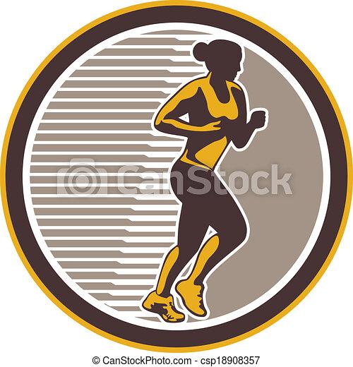 corredor, retro, hembra, lado, maratón, vista - csp18908357
