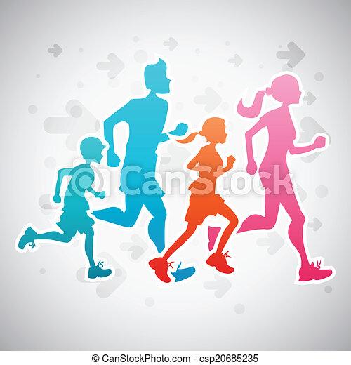 correndo, famiglia - csp20685235