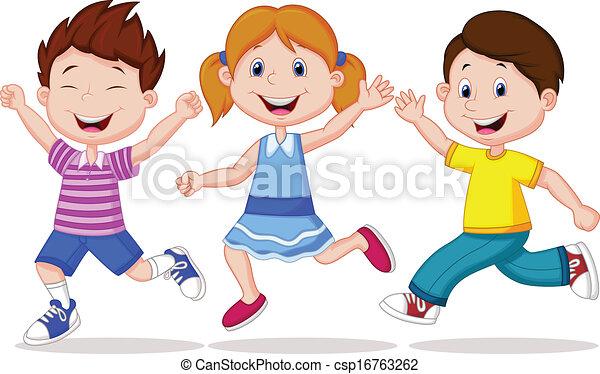 correndo, felice, cartone animato, bambini - csp16763262