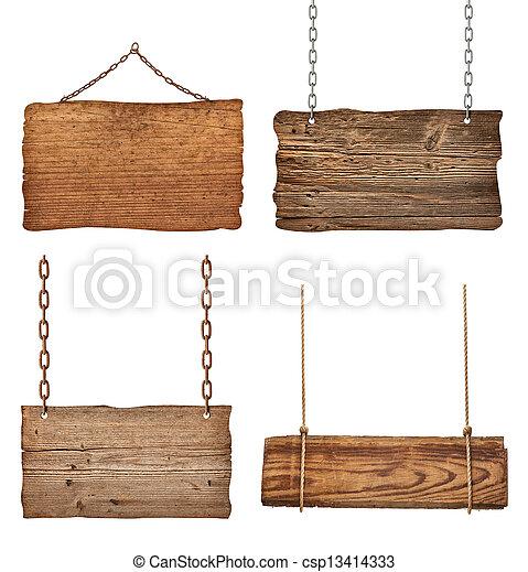 corrente, madeira, sinal, corda, fundo, penduradas, mensagem - csp13414333