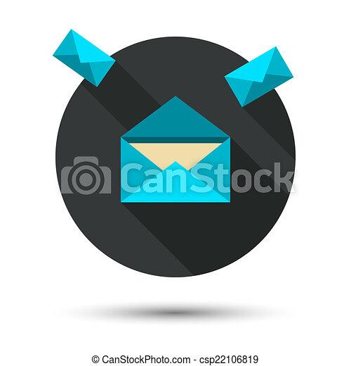 El ícono del correo con sombra larga - csp22106819