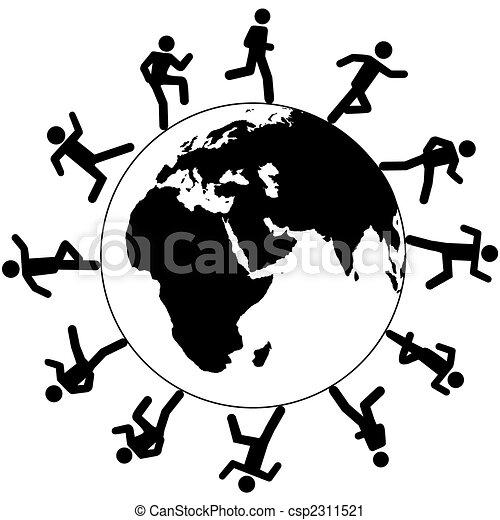 corrida, ao redor, pessoas, símbolo, global, internacional, mundo - csp2311521