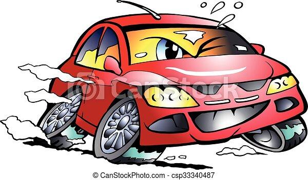 corrida carro, esportes, mascote, vermelho - csp33340487