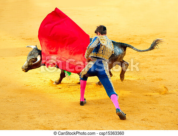 Corrida. Matador Fighting in a typical Spanish Bullfight  - csp15363360