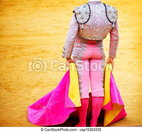 Corrida. Matador Fighting in a typical Spanish Bullfight - csp15363335