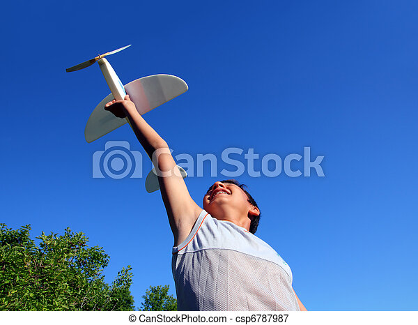 corrida menino, avião modelo - csp6787987
