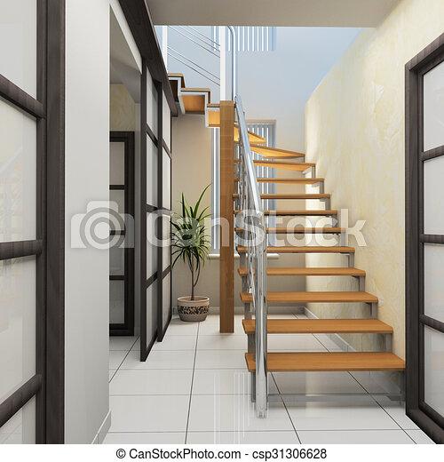 Corridor in modern office - csp31306628