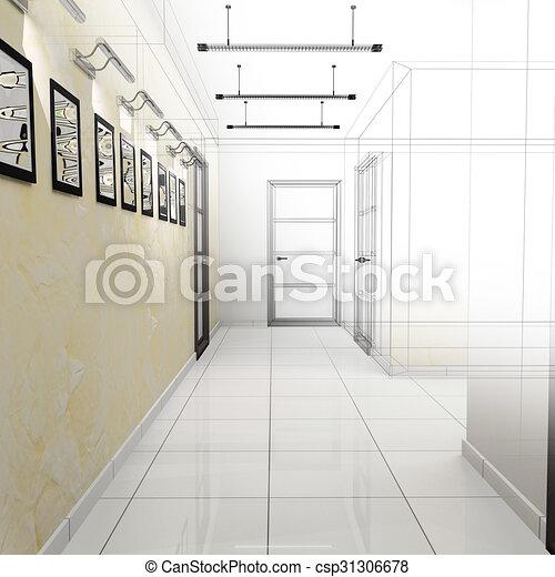 Corridor in modern office - csp31306678