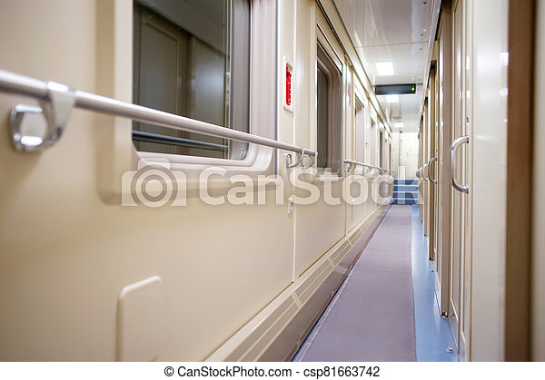 Corridor in the modern compartment car - csp81663742