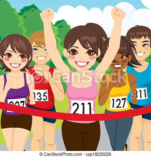 corridore, atleta, femmina, vincente - csp18230226