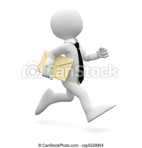 Un hombre corriendo con una carta - csp5529904