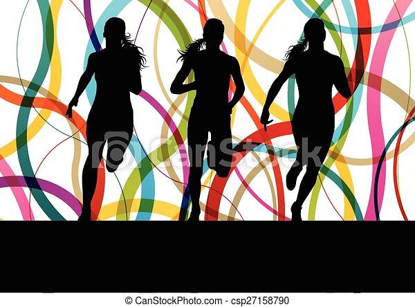 Corriendo mujeres de fitness corriendo - csp27158790