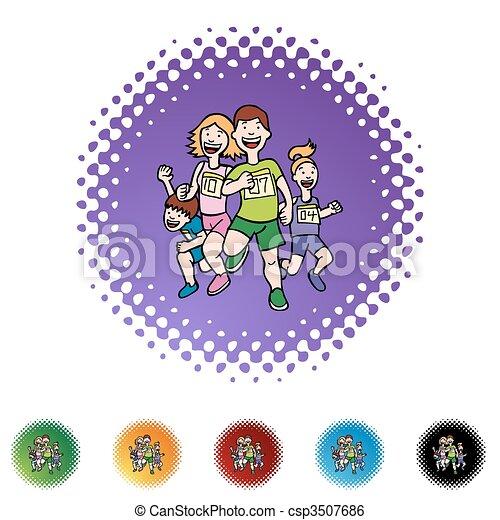 Familia corriendo - csp3507686