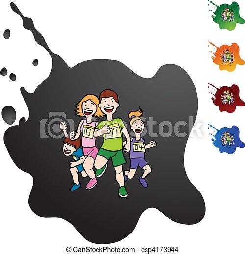 Familia corriendo - csp4173944