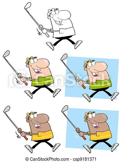 Feliz golfista corriendo - csp9181371