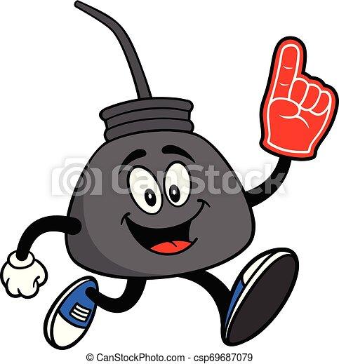 El aceite puede correr con una mano de espuma - csp69687079