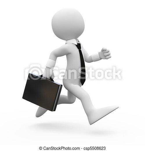 Un hombre corriendo con un maletín - csp5508623