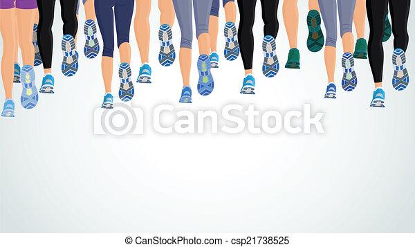 Grupo corriendo piernas de la gente - csp21738525