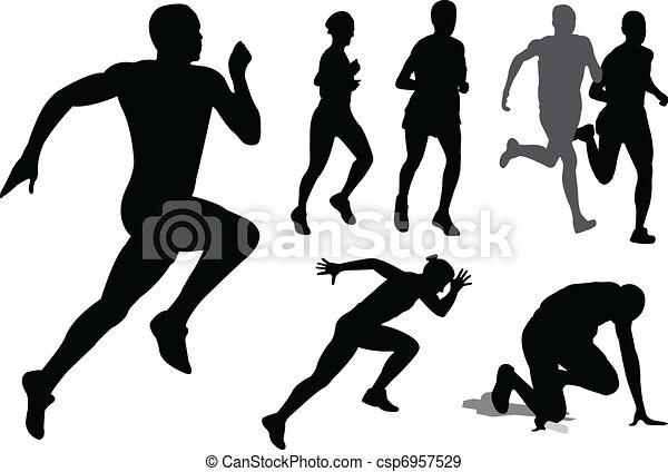 Gente corriendo siluetas - csp6957529