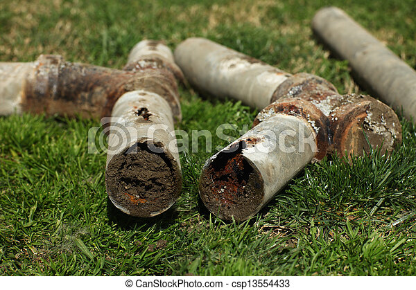 Corroded and Blocked Steel Household Pipes - csp13554433