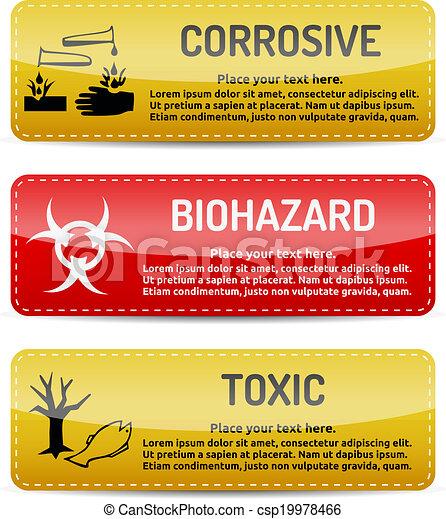 Corrosive, Biohazard, Toxic - Danger sign set - csp19978466