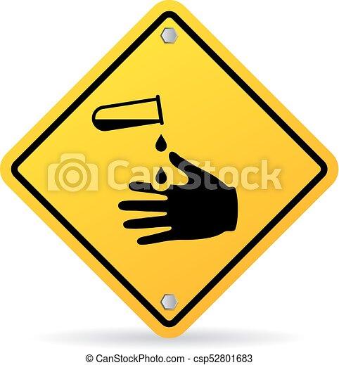Corrosive Chemicals Danger Warning Sign Corrosive Chemicals Danger