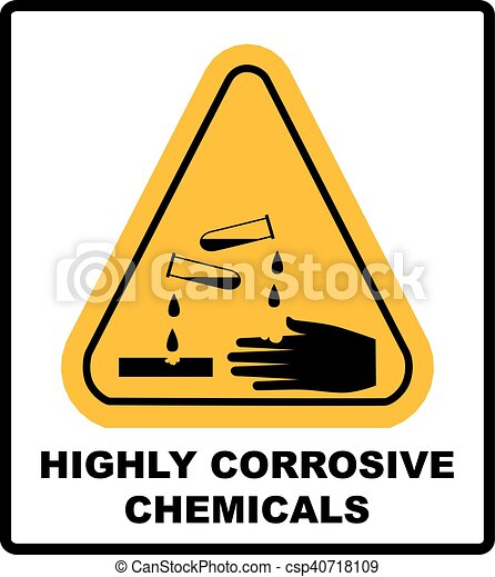 Corrosive sign. Warning sign. Danger sign. - csp40718109