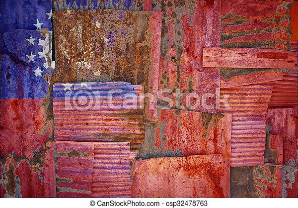 Corrugated Iron Myanmar Flag - csp32478763