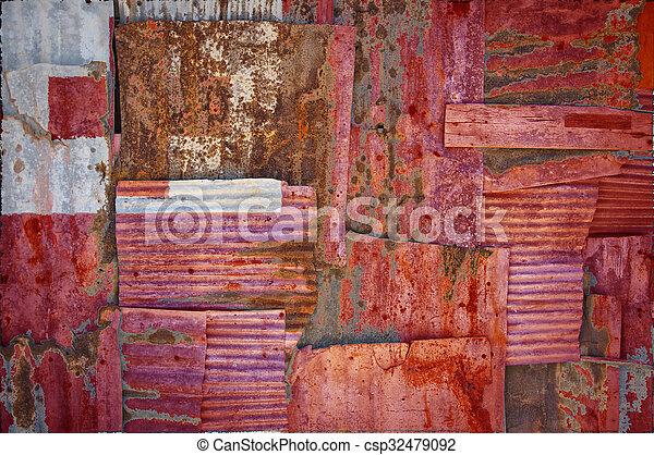 Corrugated Iron Tonga Flag - csp32479092
