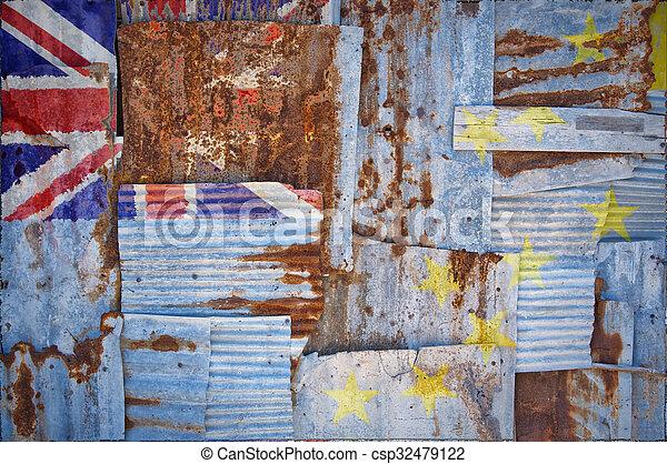 Corrugated Iron Tuvalu Flag - csp32479122