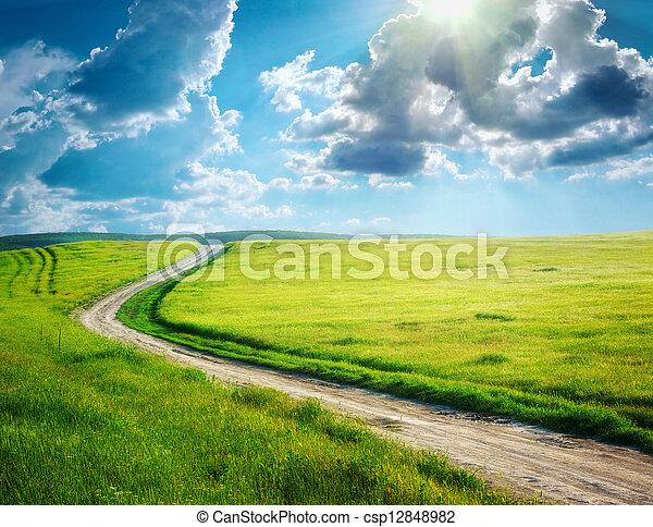 corsia, profondo, blu, strada, cielo - csp12848982