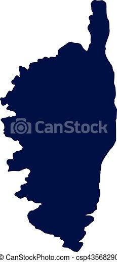 Corsica map silhouette.