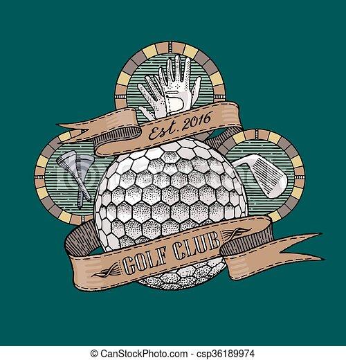 corso, vettore, bastone da golf, logotipo - csp36189974