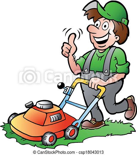 Jardinero con su cortadora de césped - csp18043013