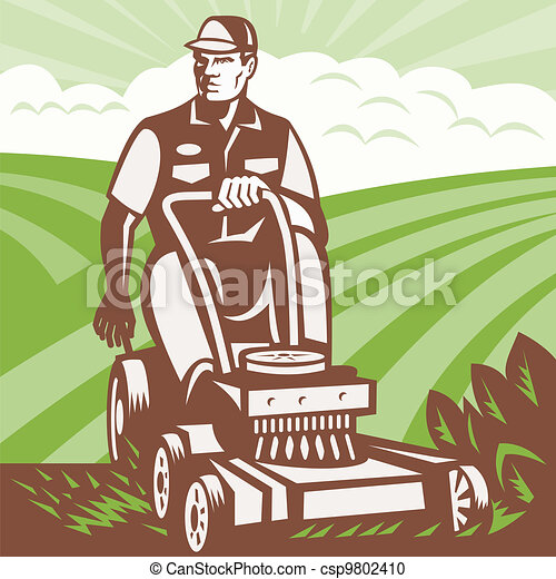 El jardinero montando la cortadora de césped retro - csp9802410